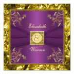 "Purple and Gold Floral Monogram Wedding Invitation 5.25"" Square Invitation Card"