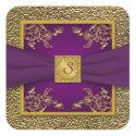 Purple and Gold Floral Monogram Wedding Sticker sticker