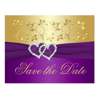 Purple and Gold Floral Save the Date Card