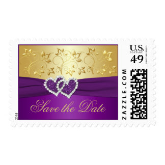 Purple and Gold Floral Wedding Postage