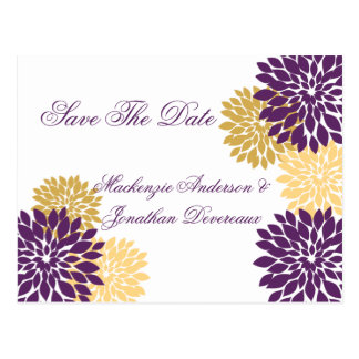 Purple and Gold Flower Petals Save The Date Postcard