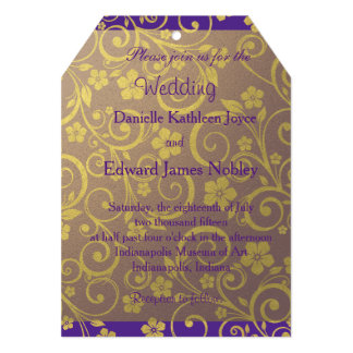 Purple and Gold Flowery Wedding Invitation