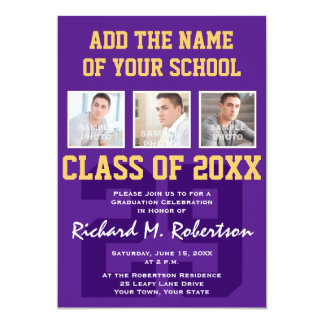 Purple and Gold Football Player's Graduation Party Card