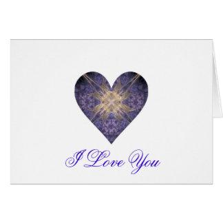Purple and Gold Fractal Art Heart Card