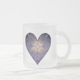 Purple and Gold Fractal Art Heart Coffee Mugs