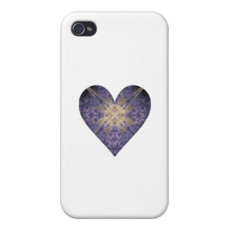 Purple and Gold Fractal Art Heart iPhone 4 Covers