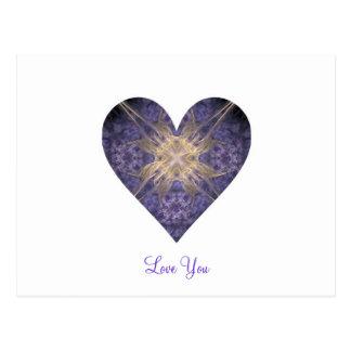 Purple and Gold Fractal Art Heart Postcard
