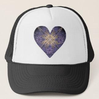 Purple and Gold Fractal Art Heart Trucker Hat