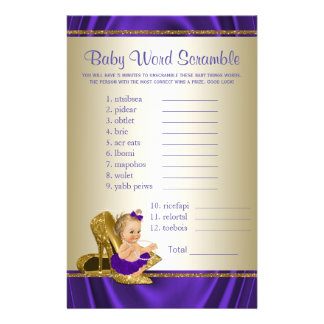 Purple and Gold Girl Baby Shower Games Flyer