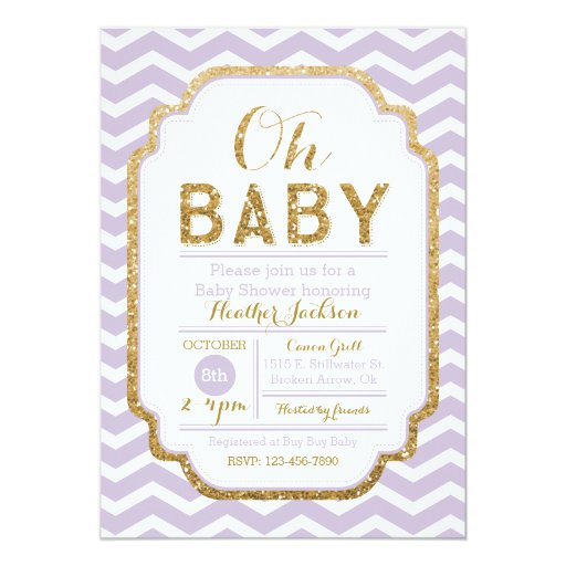 purple and gold girl baby shower invitation zazzle