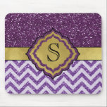"Purple and Gold Glam Glitter Monogrammed Mousepad<br><div class=""desc"">Glam Purple and Gold Faux Glitter Chevron Striped Monogrammed Mousepad.  Super Easy To Change The Monogram To Your Own.</div>"