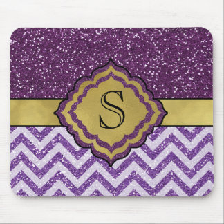 Purple and Gold Glam Glitter Monogrammed Mousepad