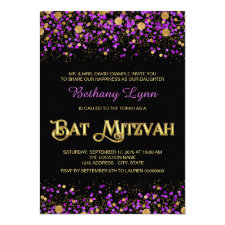 Purple and Gold Glitter Bat Mitzvah Invitation