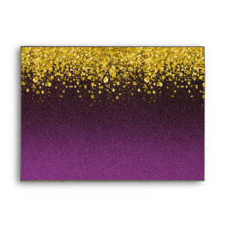 Purple and Gold Glitter Look Envelope