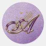 Purple and Gold Glitter Monogram A Sticker