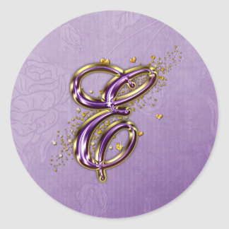 Purple and Gold Glitter Monogram E Sticker