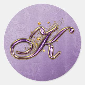 Purple and Gold Glitter Monogram K Sticker