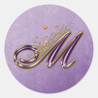 Purple and Gold Glitter Monogram M Sticker