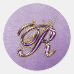 Purple and Gold Glitter Monogram R Sticker