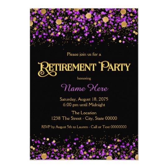 purple and gold glitter retirement party card  zazzle