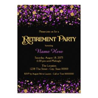 Purple and Gold Glitter Retirement Party Invitation