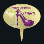 """Purple and Gold Glitz and Glitter Stiletto Shoe Cake Topper<br><div class=""""desc"""">What girl doesn&#39;t like shoes and this one is so cool oozing with glitz,  glitter and glamour in a great shade of purple on a gold colored background. It&#39;s a real favorite with the young ladies and it&#39;s so easy to personalize with a name.</div>"""