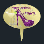 "Purple and Gold Glitz and Glitter Stiletto Shoe Cake Topper<br><div class=""desc"">What girl doesn&#39;t like shoes and this one is so cool oozing with glitz,  glitter and glamour in a great shade of purple on a gold colored background. It&#39;s a real favorite with the young ladies and it&#39;s so easy to personalize with a name.</div>"