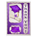 Purple and Gold Graduation Thank You card