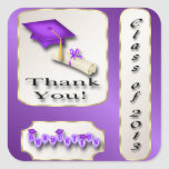 Purple and Gold Graduation Thank You envelope seal Square Sticker