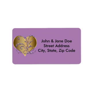 Purple And Gold Heart Address Label