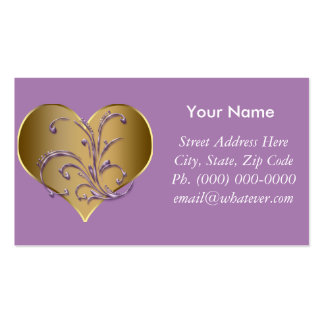 Purple And Gold Heart Business Card Templates