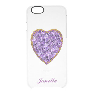 Purple and Gold Heart Clear iPhone 6 Case Uncommon Clearly™ Deflector iPhone 6 Case