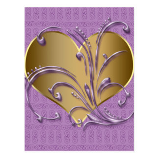 Purple And Gold Heart Post Cards