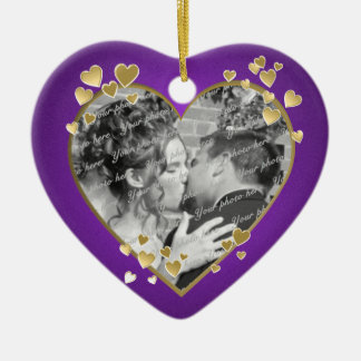 Purple and Gold Hearts Frame Double-Sided Heart Ceramic Christmas Ornament