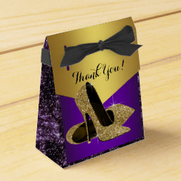 Purple and Gold High Heel Shoe Birthday Favor Box