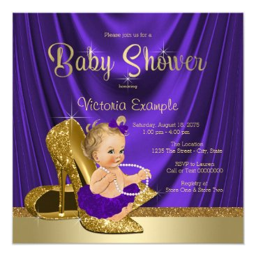 Purple and Gold High Heel Shoe Girl Baby Shower Card