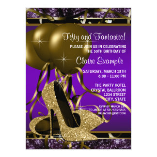 Purple and Gold High Heels Birthday Party Card
