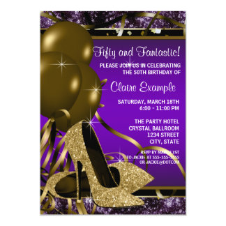 Purple and Gold High Heels Womans Birthday Party Personalized Invitation