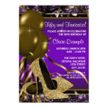 Purple and Gold High Heels Womans Birthday Party 5x7 Paper Invitation Card