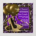 """Purple and Gold High Heels Womans Birthday Party Invitation<br><div class=""""desc"""">Elegant purple and gold glitter high heel shoes woman's birthday party invitations. This woman's elegant purple and gold birthday party invitation is easily customized for your party or event by adding your event details,  font style,  font size & color,  and wording.</div>"""