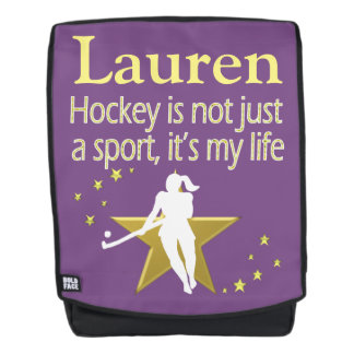 PURPLE AND GOLD HOCKEY GIRL PERSONALIZED BACKPACK