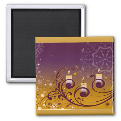 Purple and Gold Holiday Candles 2 Inch Square Magnet