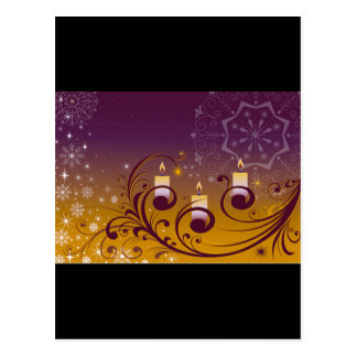 Purple and Gold Holiday Candles Postcard