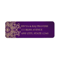 PURPLE AND GOLD INDIAN INSPIRED ADDRESS LABELS