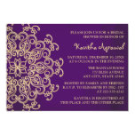 "Purple and Gold Indian Inspired Bridal Shower 5"" X 7"" Invitation Card"