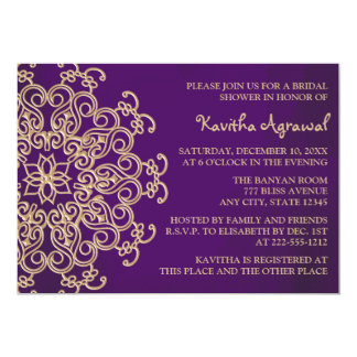 Purple and Gold Indian Inspired Bridal Shower 5x7 Paper Invitation Card