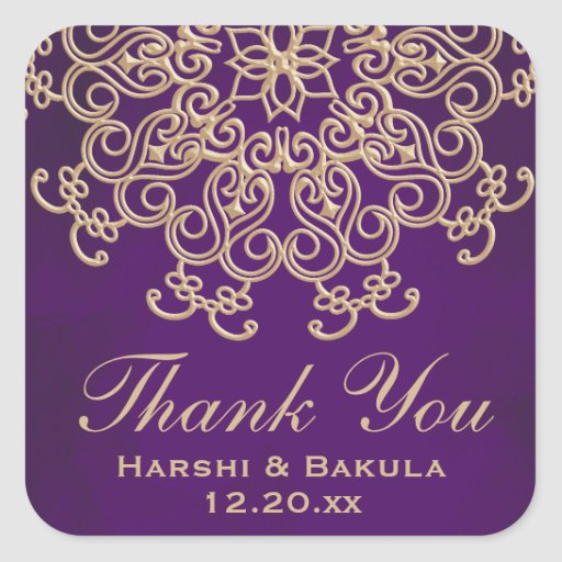 PURPLE AND GOLD INDIAN INSPIRED THANK YOU LABEL STICKERS