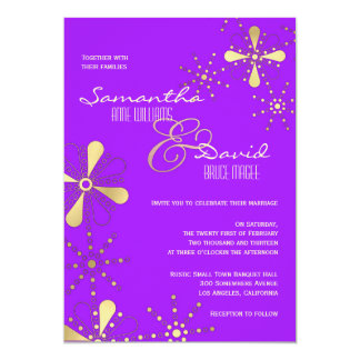 Purple and Gold Indian Inspired Wedding Card