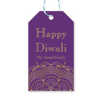 Purple and Gold Indian Pattern Diwali Gift Tags