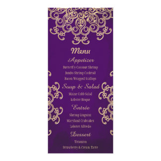 Purple and Gold Indian Style Menu Cards